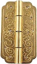FMOGE 2 Pcs Gold Hinges Iron Decorative Vintage