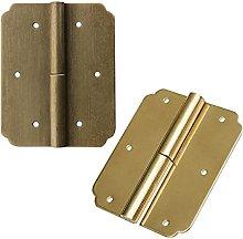 FMOGE 2 Pcs Gold Hinges +screws Iron Decorative