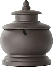 FMOGG Purple Clay Ashtray with Lid,Ash Tray for