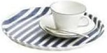 Fog Linen Work - Blue White Stripes Round Linen