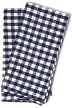 Fog Linen Work - Set of 2 Blue Linen Checkered
