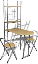 Foldable Breakfast Bar Set with 2 Chairs - Beige
