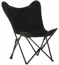 Foldable Butterfly Chair Black Real Leather -