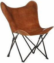 Foldable Butterfly Chair Brown Real Leather -