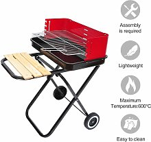 Foldable Charcoal Trolley BBQ Barbecue Grill w/