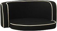 Foldable Dog Sofa Black 76x71x30 cm Linen Washable