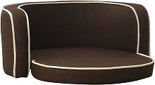 Foldable Dog Sofa Brown 76x71x30 cm Linen Washable