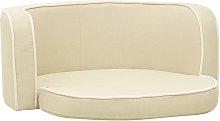 Foldable Dog Sofa Cream 76x71x30 cm Linen Washable