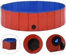 Foldable Dog Swimming Pool Red 120x30 cm PVC