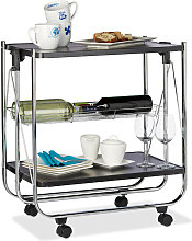 Foldable Serving Trolley, 4 Wheels, 2 Shelves,