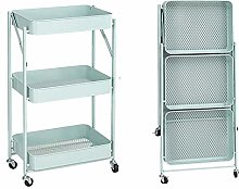 Foldable Storage Trolley,3 Tiers Rolling