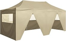 Foldable Tent Pop-Up with 4 Side Walls 3x6 m Cream