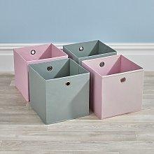 Folding 2 Pink 2 Grey Square Storage Utility Box