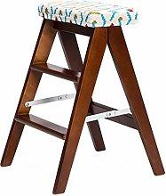 Folding 3 Tread Step Stool/Ladder/Chair, Wood
