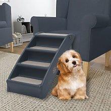 Folding 4-Step Dog Stairs Dark Grey8593-Serial