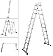 Folding Aluminium Ladder Telescopic Step Ladder Garden Extension Ladders Outdoor