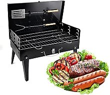 Folding BBQ Charcoal Grill, Stainless Steel