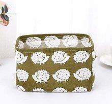 Folding Cotton Linen Desktop Storage Basket With