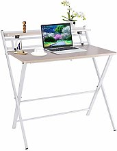 Folding Desk for Small Space, 2-Tiers Computer