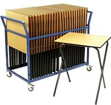 Folding Exam Desk Bundle Deal, Blue, Free Standard