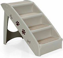 Folding Portable Pet Stairs 4 Step Dog Puppy Plastic Ladders Padded Step Ramp