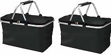 Folding Shopping Basket Black - Camping Bag Picnic