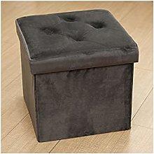 Folding Storage Footstool,Velvet Ottoman Storage