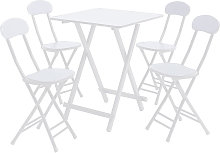 Folding Table & 4 Chairs Breakfast Stools Kitchen