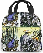 Folk Bird Pop Insulated Lunch Bag Tote Bag,Lunch