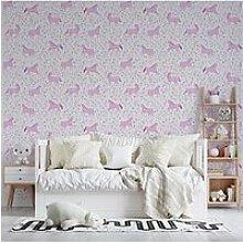 Folk Unicorn Pink Wallpaper