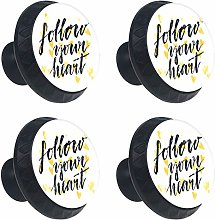 Follow Your Heart with Love 4PCS Round Drawer Knob