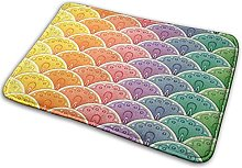 FONSMAY Indoor Area Rug, Fan Rainbow Pattern Soft