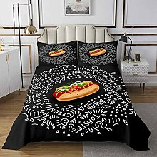 Food Bedspread Graffiti Style Quilted Coverlet for