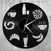 Food Clock Vinyl Wall Clock Record Unique Design