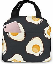 Food Fried Eggs Dark Portable Insulated Lunch Bag