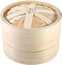 Food Steamer, 2 Tiers Bamboo Steamer Basket with