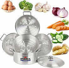 Food Steamer 3 & 5 Tier Rice Cooker Metal Finish