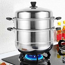 Food Steamer Pan 3 Tier Stainless Steel Stock Pot