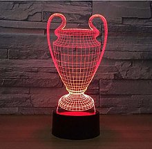 Football Cup Trophy 3D Lamp 7 Colors Changing LED