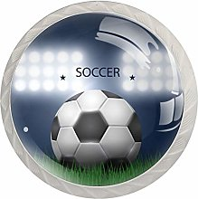 Football Grass Crystal Glass knobs 4 Pack Round