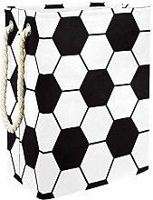Football Pattern Black White Storage Baskets,