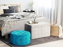 Footstool Blue Velvet Round Pouffe Button Tufted