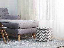 Footstool Grey and White Round Storage Stool