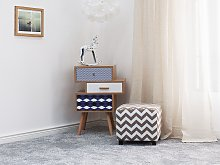 Footstool Grey Fabric Upholstery 37 x 37 cm Square