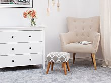 Footstool Grey Fabric Upholstery Square Seat