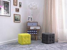 Footstool Grey Velvet Cube Pouffe Button Tufted
