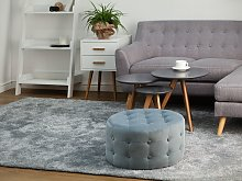 Footstool Grey Velvet Round Pouffe Button Tufted