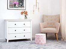 Footstool Pink Round Storage Stool Quatrefoil