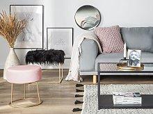 Footstool Pink Velvet with Gold Metal Base Glam