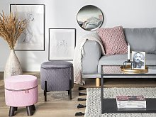 Footstool Pink Velvet with Wooden Legs with Zipper